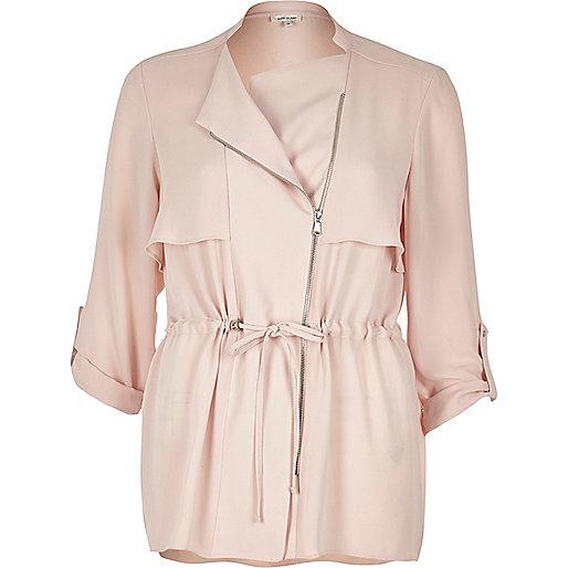Blush pink drawstring shacket