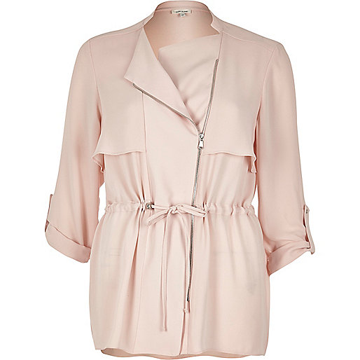 Veste-chemise rose blush à cordon de serrage
