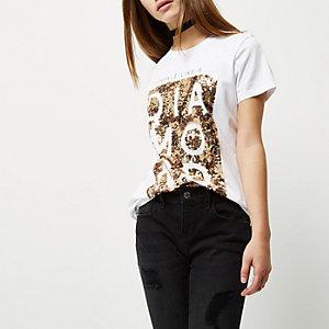Weißes Boyfriend-T-Shirt mit Paillettenmuster, Kurzgröße