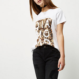 Petite white sequin slogan boyfriend T-shirt