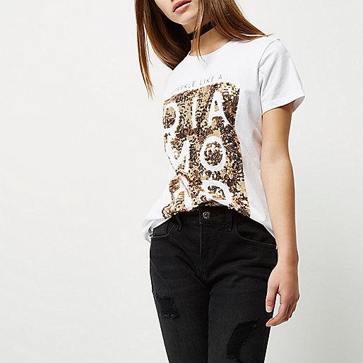 T-shirt boyfriend Petite à inscription et sequins blanc