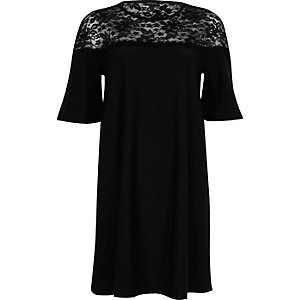 Black lace panel flared swing dress