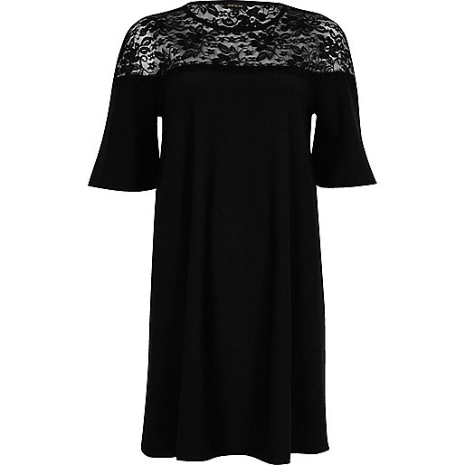 Black lace panel flared swing dress