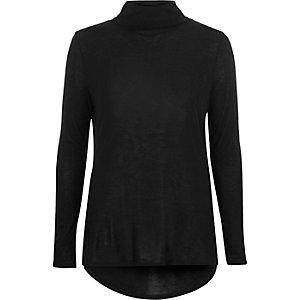 Black jersey roll neck top