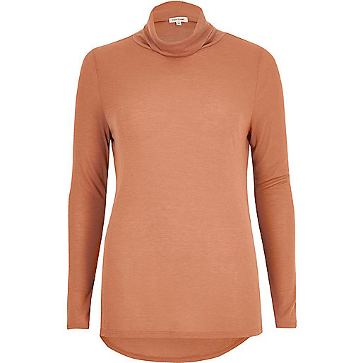 Light brown turtleneck top