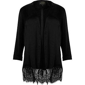 RI Plus – Schwarze Jacke mit Spitzensaum
