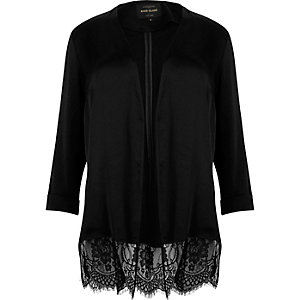 Plus black lace hem duster jacket
