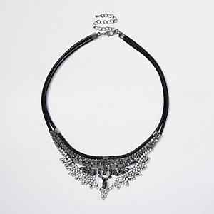 Gunmetal tone diamanté bib necklace
