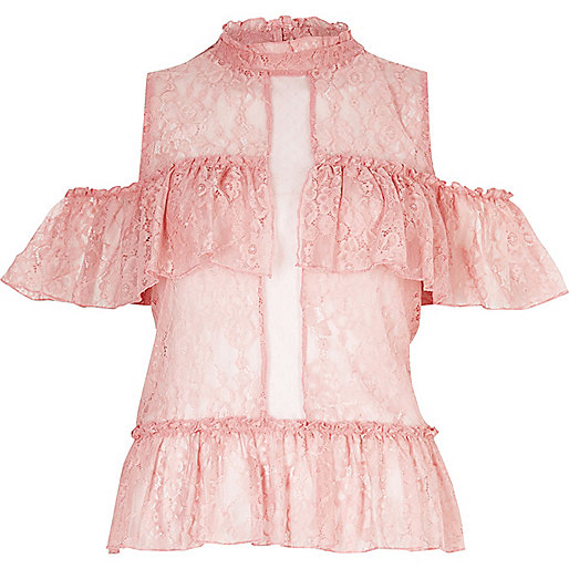 Blush pink lace frill cold shoulder top