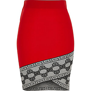 Red contrast trim wrap pencil skirt