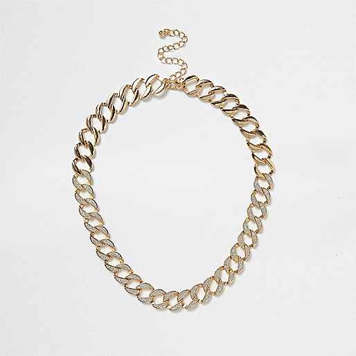 Gold tone glitter chain link necklace