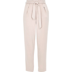 Pink soft tie waist tapered pants