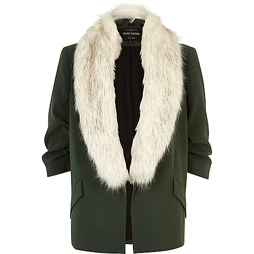 Khaki green faux fur open jacket