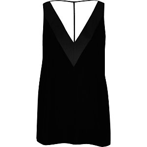 Black velvet T-bar cami