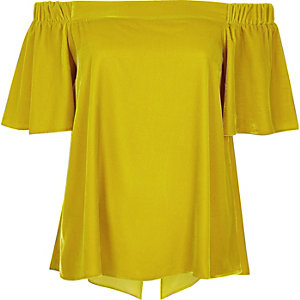 Dark yellow velvet bardot top