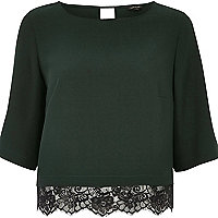 Dark green lace hem top