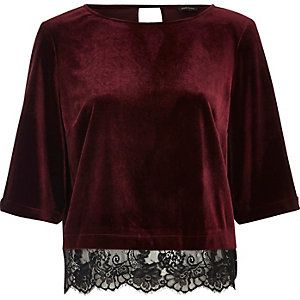 Dark red velvet lace hem top