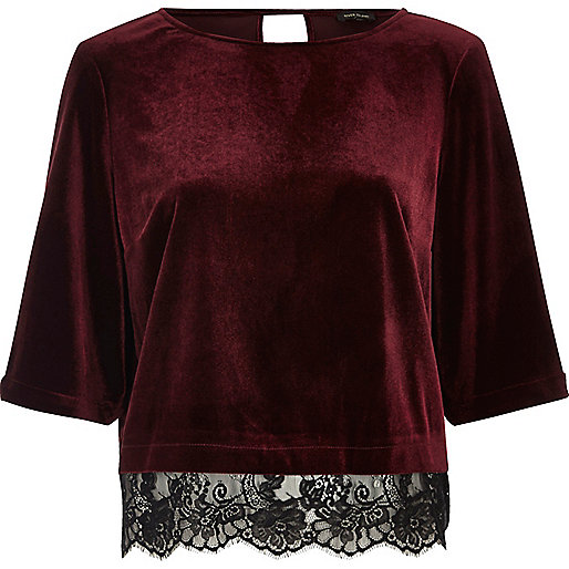 Dark red velvet lace hem top