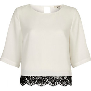 Cream satin lace hem top