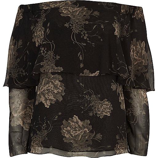 Top style Bardot noir à imprimé floral et volants
