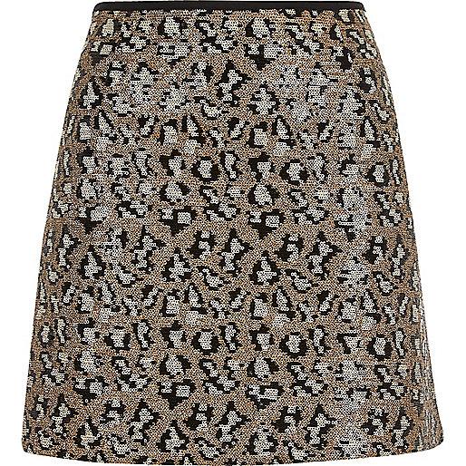 Silver sequin animal print mini skirt