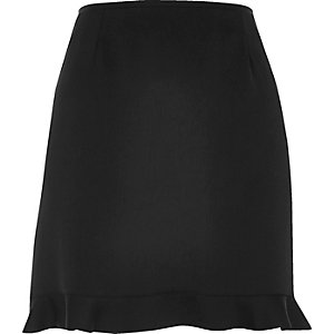 Black frill hem mini skirt