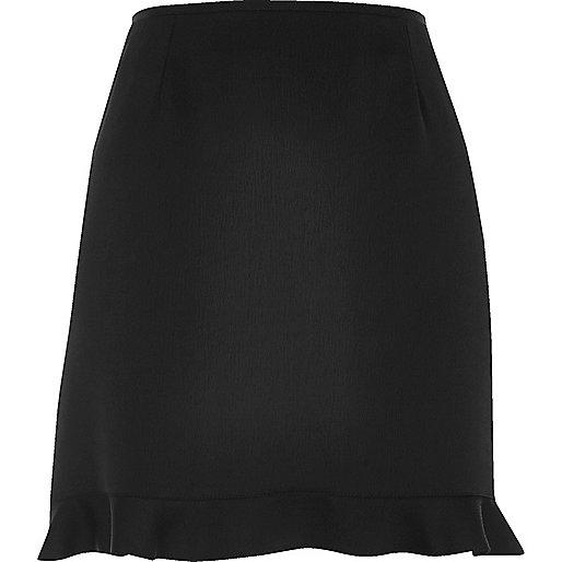 Black frill hem mini skirt