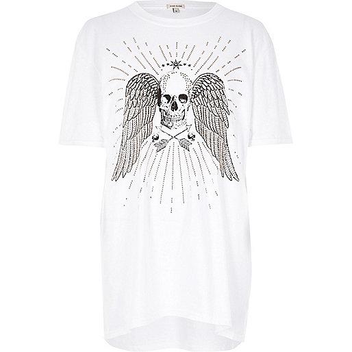 White skull print boyfriend T-shirt