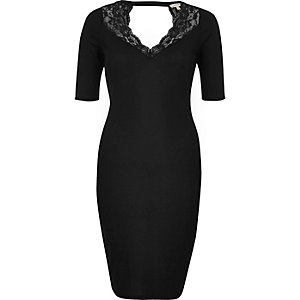 Black lace trim ribbed bodycon dress