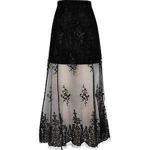 Black layered lace maxi skirt