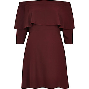 Dark red bardot cape swing dress