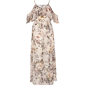 Cream floral print cold shoulder maxi dress