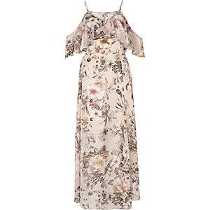 Robe longue à fleurs crème avec épaules dénudées