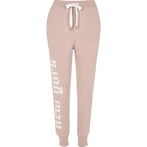 Pink word print joggers