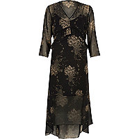 Black floral print frill maxi dress