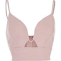 Blush pink plunge bralette