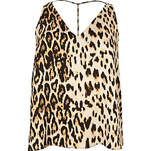 RI Plus brown leopard print strap back cami