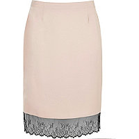 Plus blush pink lace hem midi skirt