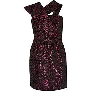 Pink print ruffle strap dress
