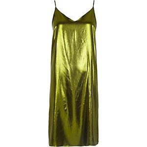 Metallic green midi slip dress