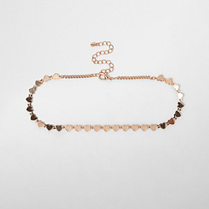 Rose gold tone heart chain choker