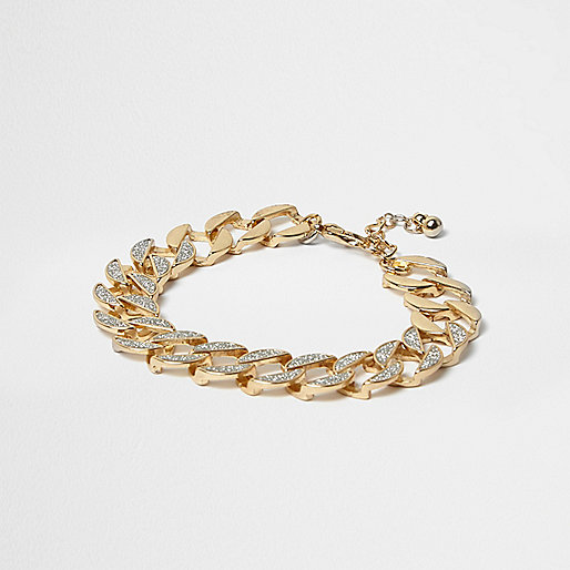 Gold tone glitter chain link bracelet