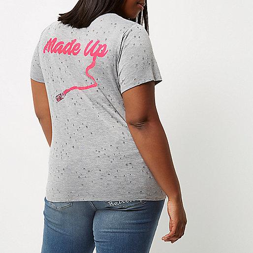 RI Plus grey nibbled 'Made Up' print T-shirt