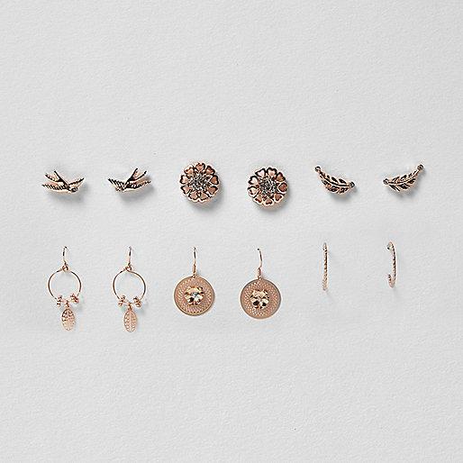 Rose gold tone bird earrings pack