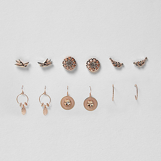 Rose gold tone bird earrings pack