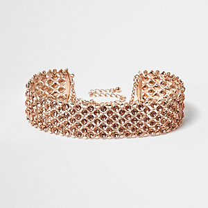 Rose gold tone sparkly choker