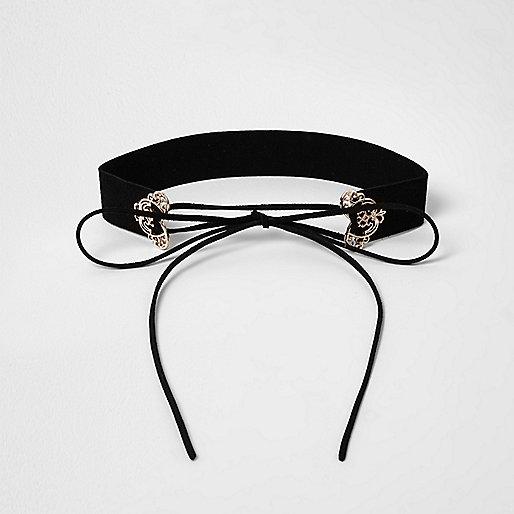 Ras-de-cou corset noir en filigrane