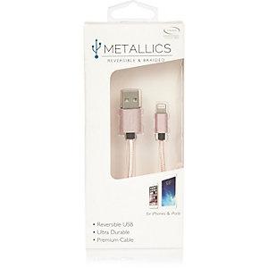 Câble USB or rose réversible