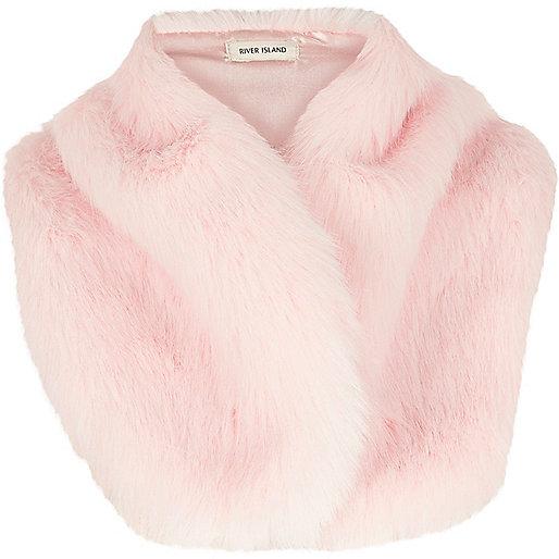 Pink faux fur tippet