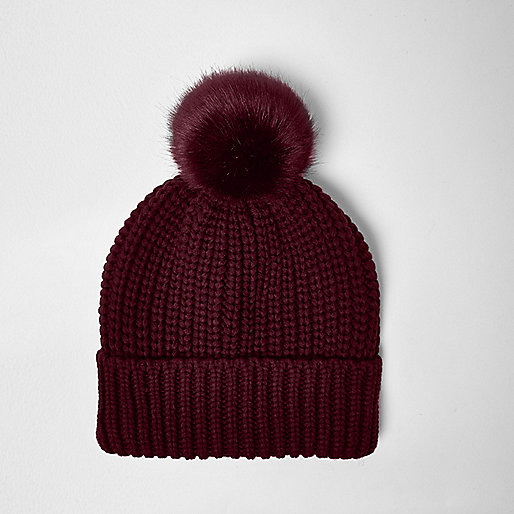 Red knit bobble hat